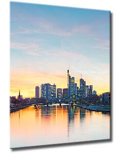 Leinwand Bild Frankfurt Skyline Sonnenuntergang Mainhattan Wasser Städte Bilder