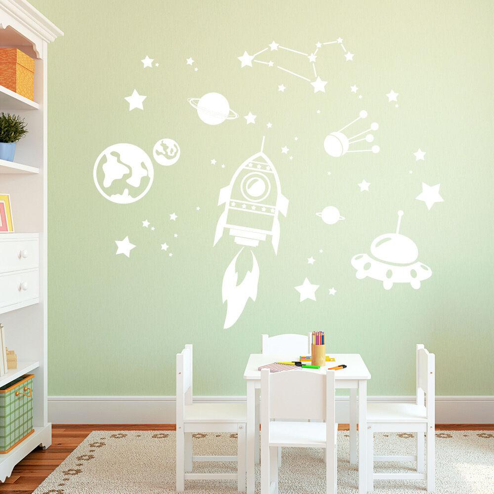 10610 Muro Tatuaggio Adesivi Loft spazio (Cosmos) con stelle & & & RAZZO UFO Planet 3cd51e