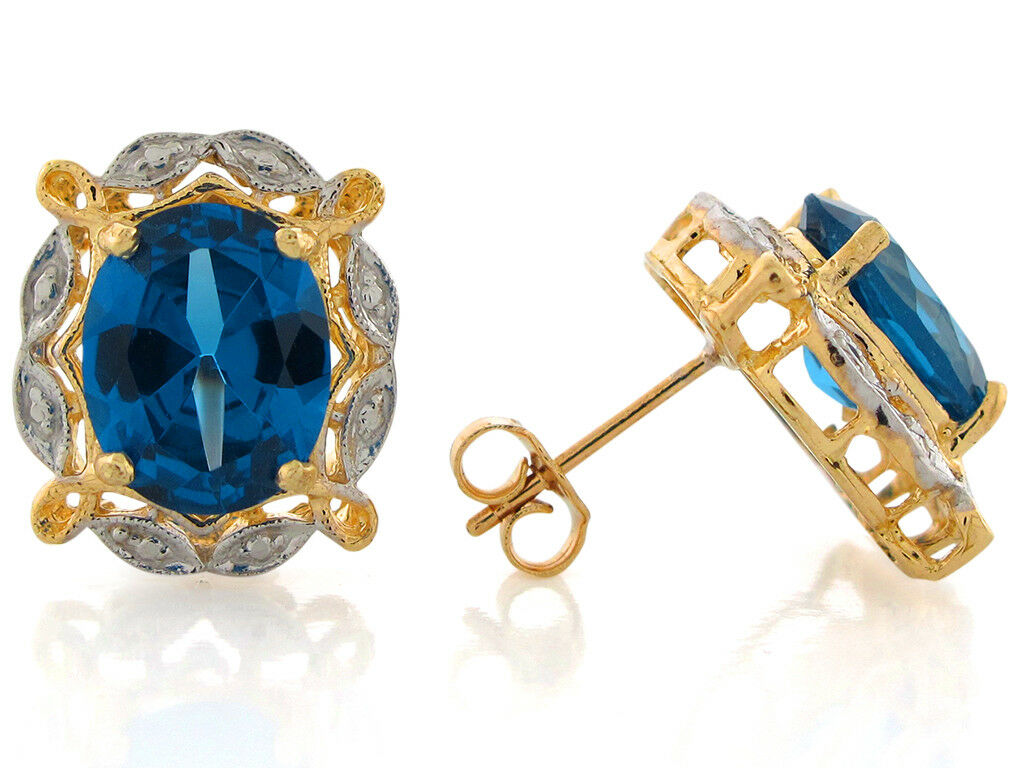 10k or 14k Two-Tone Real gold Simulated blueee Zircon December Birthstone Earrings