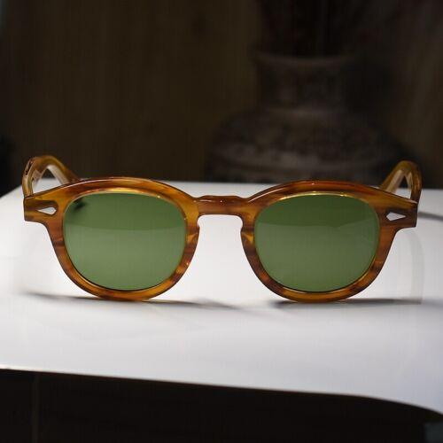 Retro Johnny Depp sunglasses men/'s blonde glasses light green//green glass lens