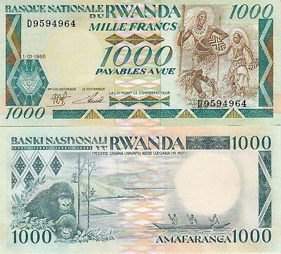 Billet De Banque Banknote Rwanda 1000 Francs 1988 New Neuf Unc Gorille Gorilla Gemakkelijk Te Repareren