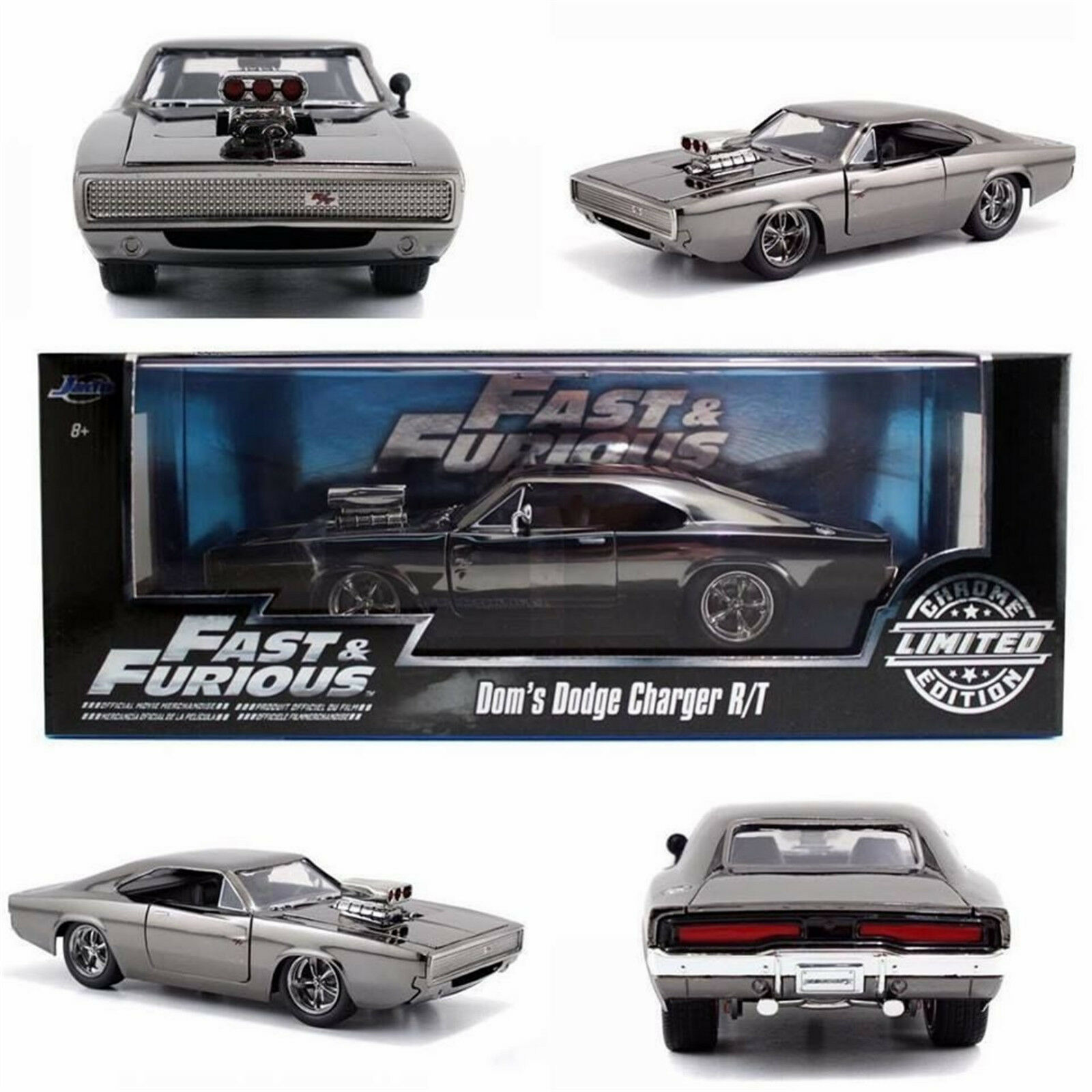 Fast & FURIOUS DOM'S Dodge Charger R T CHROME Limited 1 24 Diecast JADA 97443