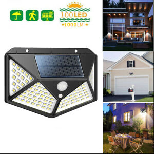 100 LED Solarleuchte mit Wandleuchte mit PIR Bewegungsmelder Fluter Wasserfest