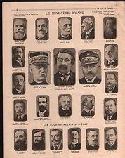 WWI Ministère de Briand/Gel Galliéni /Amiral Lacaze /Freycinet 1915 ILLUSTRATION