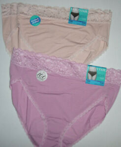 2 Vanity Fair Hi Cut Brief Panty Set 13280 Flattering Lace
