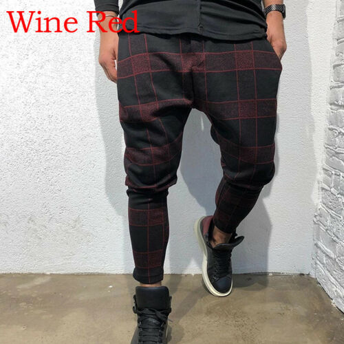 Men Casual Gym Sport Jogger Long Track Sweat Pant Hip Hop Plaid Slim Fit Trouser
