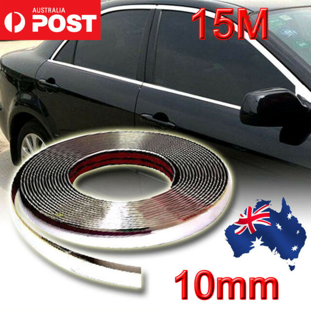 AU 15M 10MM Chrome Moulding Trim Strip Car Door Edge Scratch Protector  Cover New