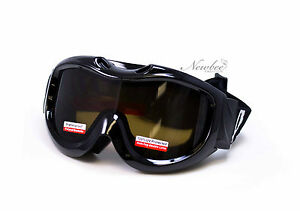 Men-Snow-Ski-Goggles-Black-Frame-Brown-Lens-Anti-Fog-Dual-Lens-Pouch-Included