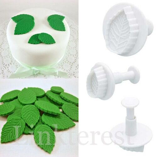 3pcs Rose Leaf Fondant Cake Cookie Cutter Decorating Mold Sugarcraft Icing Tool