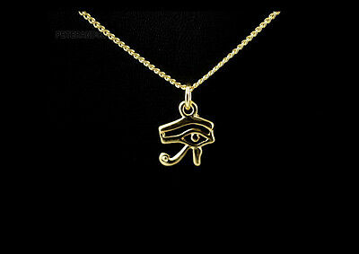 pendentif oeil d horus oeil ouvert métal doré + chaine - 3635