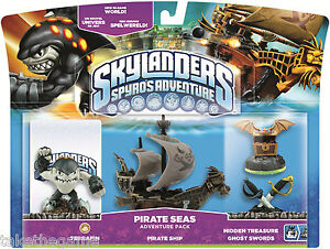 Skylanders-Spyro-039-s-Adventure-Pack-PIRATE-SEAS-Terrafin-Ship-Ghost-Swords-BNIP