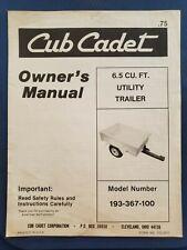 Cub Cadet Model 193 367 100 65 Cubic Foot Utility Trailer Owners Manual H