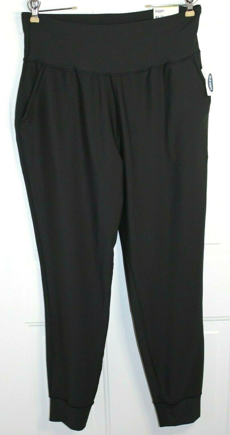 Old Navy Powersoft Black High Waisted Crop Jogger Leggings Women's XL TALL NEW