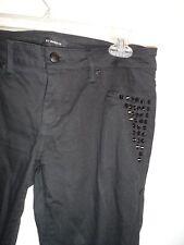 bebe 28 Jeans Legging Pants Denim Black Studded Skinny Zipper Stretchy CHIC Sexy