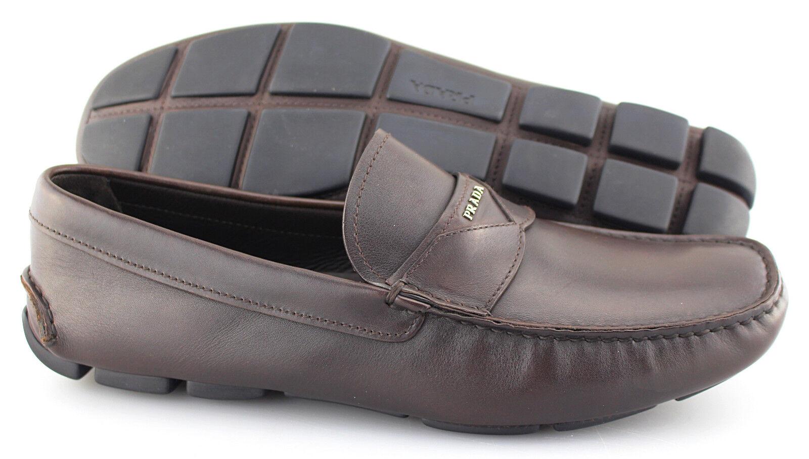 Men's PRADA 'Milano' Dark Brown Leather Loafers Size US 11 PRADA 10