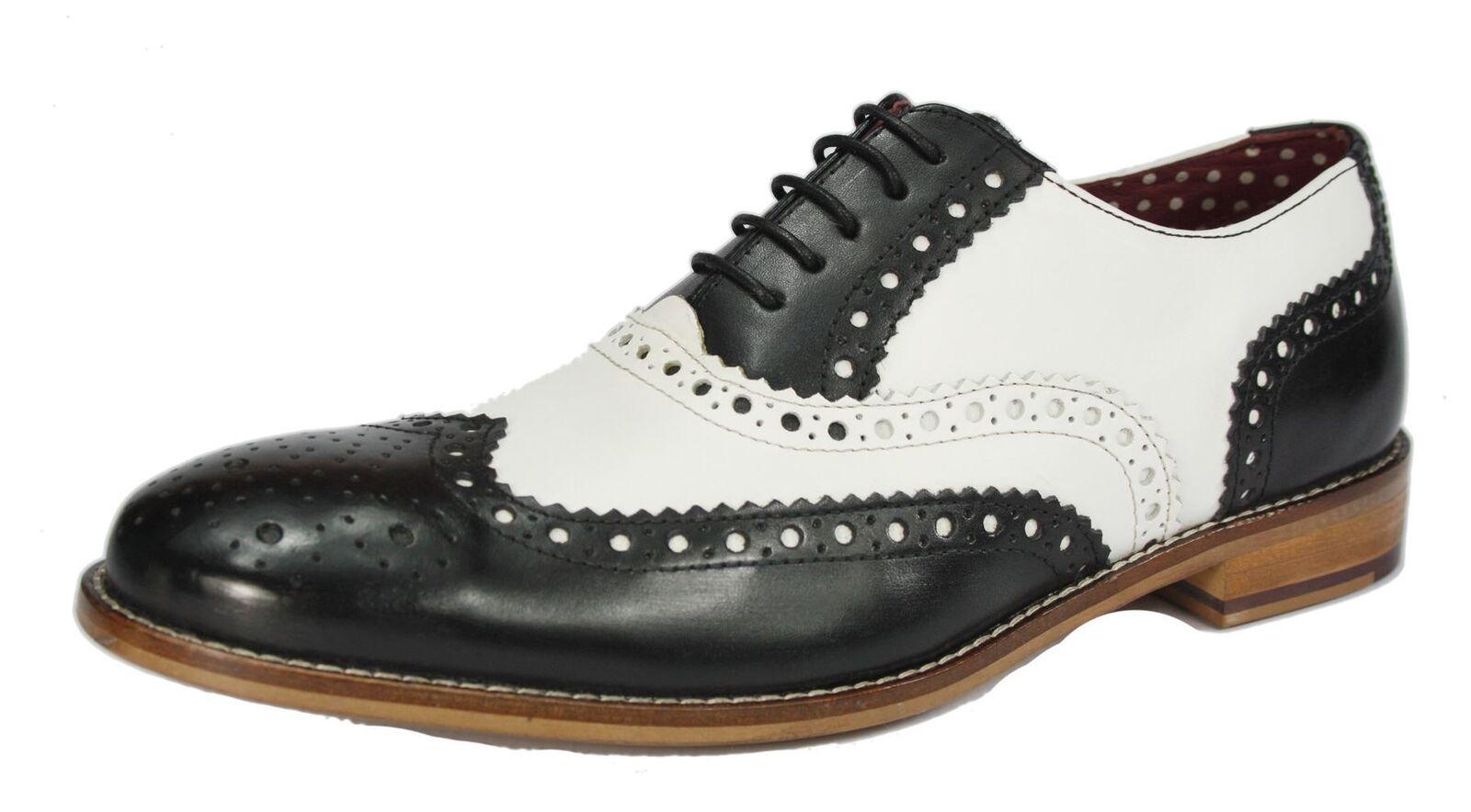 London Brogues Schnüren Gatsby schwarz/weiß Halbschuhe zum Schnüren Brogues Herren Leder rund 471324