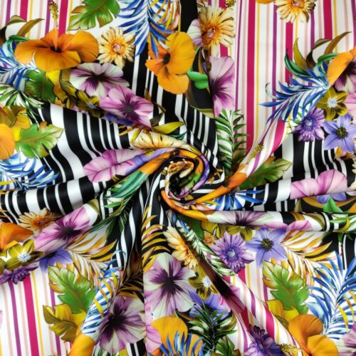 FS392 Aconite Multi Stripe Floral Print Quality Jersey Scuba Stretchy Fabric