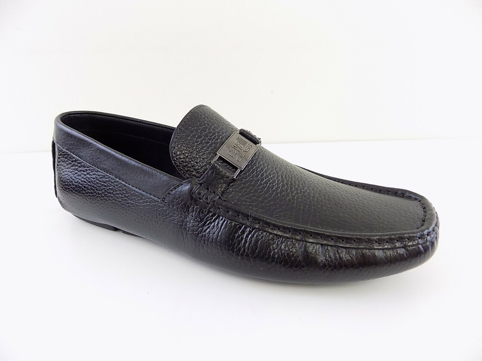 ROBERTO CAVALLI  430  Black MEN SZ 12(45)M Loafers & Slip Ons PEBBLED shoes D16