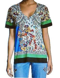 ETRO Garden Paisley Cotton Tee Shirt T Top Blouse V Neck Size Italy 46 US 10