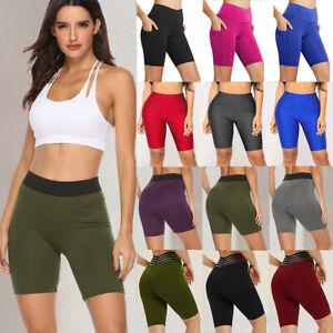 Women Yoga Shorts Hot Pants Booty Butt Lift High Waist Sport Scrunch Pockets LC