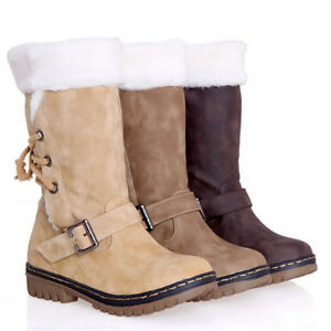 Women-039-s-Winter-Boots-Snow-Fur-Warm-Insulated-Waterproof-Midi-Calf-Ski-Shoes-Size