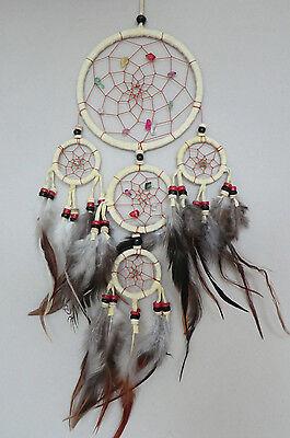 12 Cm X 40 Cm Creme Leder Dreamcatcher Traumfänger Indianer Federn Perlen Träume Lassen Sie Unsere Waren In Die Welt Gehen