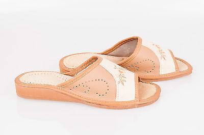 Mujer Dama Zapatillas De Cuero 100% Natural De Cuero Tamaño: UK 3,4,5,6,7,8