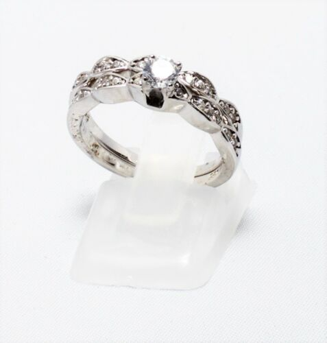 925 Sterling Silver Women/'s Wedding Engagement Bridal Rings Set Lab Diamonds