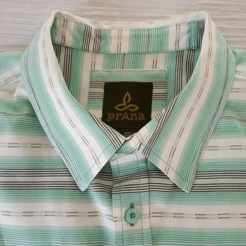 PrAna Mens Size L Green White Short Sleeve Button