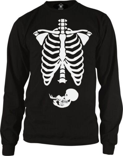 Pregnant Skeleton Bones Halloween Pregnancy Costume Funny Long Sleeve Thermal