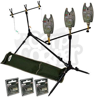 Carp Fishing Multi Rod Pod With Swingers Indicators & 3 Camo Bite Alarm Deal NGT