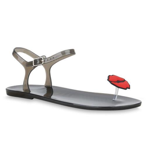 Damen Sandalen Zehentrenner Transparente Badeschuhe Flats Lack 830097 Trendy Neu
