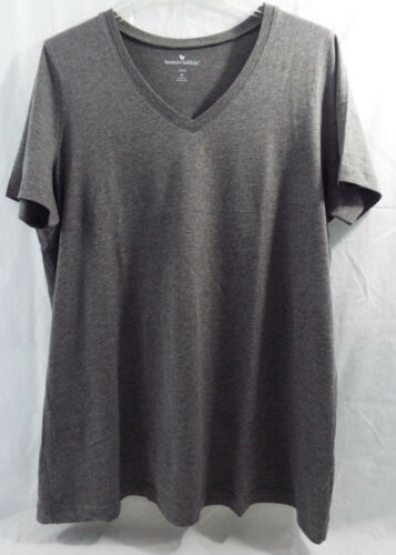 L Womens Plus Size  Perfect V Neck T Shirt Charcoal Gray in 18//20
