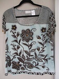 Womens-Soft-Surrounding-Beads-amp-Coins-Floral-Gypsy-Top-S-M-L-Plus-Size-1X-3X