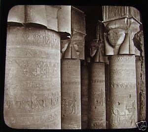 Glass-Magic-lantern-slide-COLUMNS-OF-THE-GREAT-TEMPLE-C1890-EGYPT-L66-KARNAK