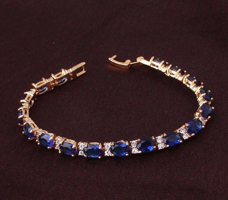 Finitura Finitura Finitura oro Giallo con Zaffiro Blu Creato Diamante Bracciale Tennis 931fdc