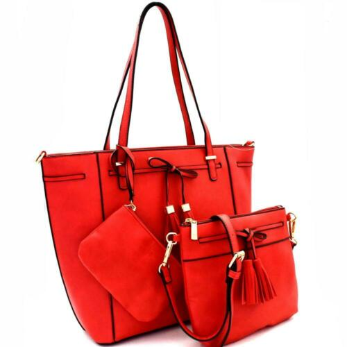 Tassel Bow Accent 3 in 1 Tote Handbag Value SET