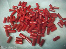 "Vtg 100 BRICK RED FRENCH ""WAMPUM"" GLASS TUBE BUGLE BEADS 9X4mm #061014a"