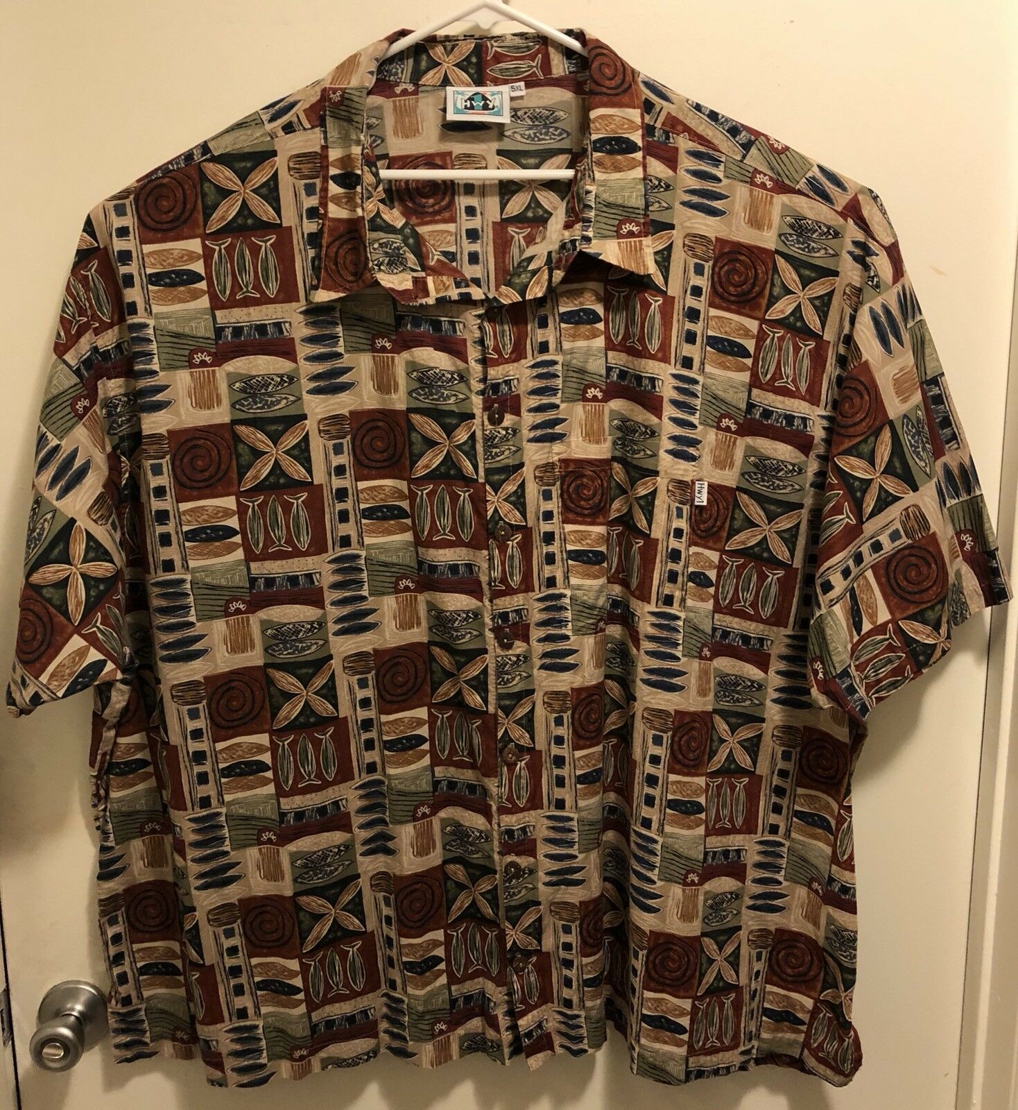 EUC HWY 1 Polynesian Tapa Tribal Floral Hawaiian Aloha Shirt Men's 5XL