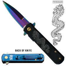 """7"""" STILETTO Knife Chinese Dragon Black & Blue Handle Colorful ASSISTED Blade"""