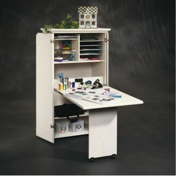 Craft Storage Furniture Supply Room Sewing Table White Antiqued Armoire Cabinet | eBay & Craft Storage Furniture Supply Room Sewing Table White Antiqued ...