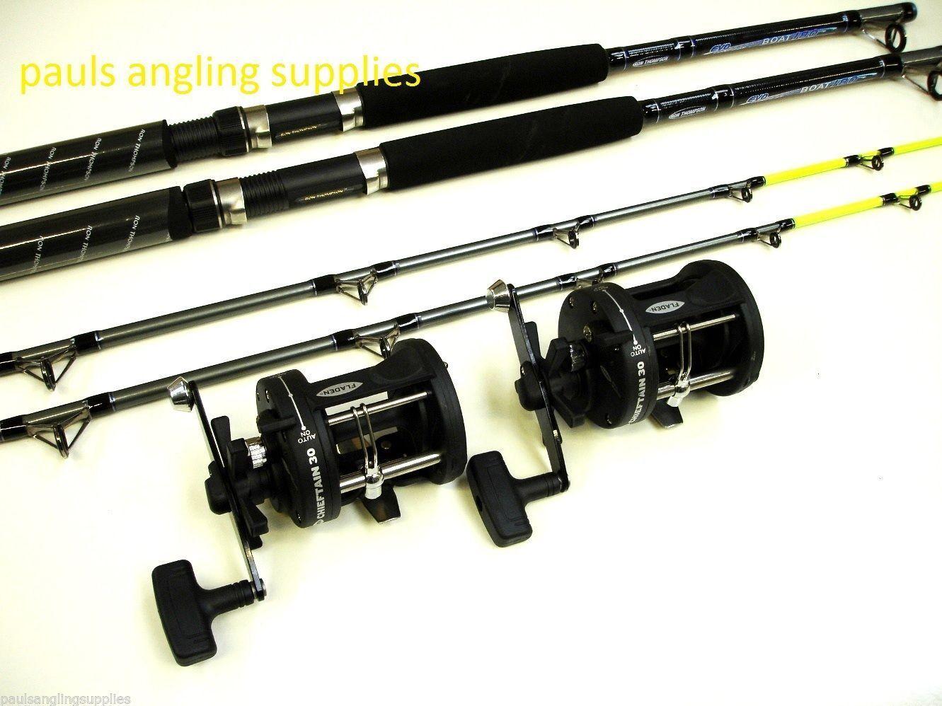 2  x okuma  7ft Boat  Fishing Rods & Fladen Multiplier Reels  +Line