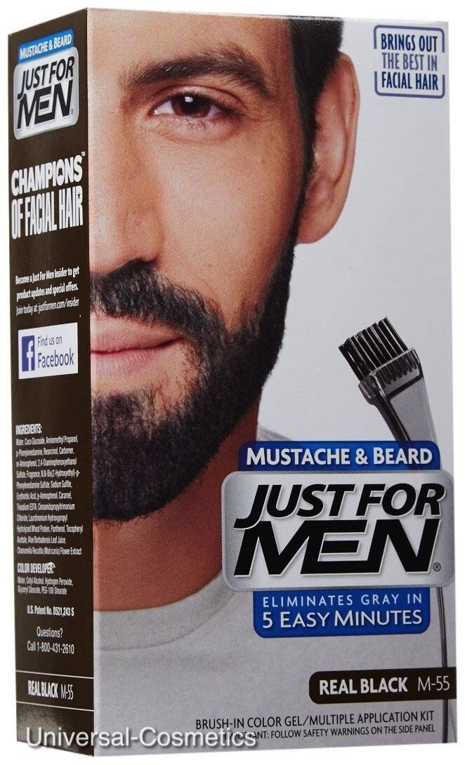 Just For Men M55 Moustache And Beard Facial Hair Color Real Black Ebay