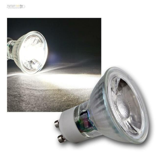 COB GU10 Glas Leuchtmittel daylight weiß 250lm Strahler Birne Spot Lampe 230V 3W
