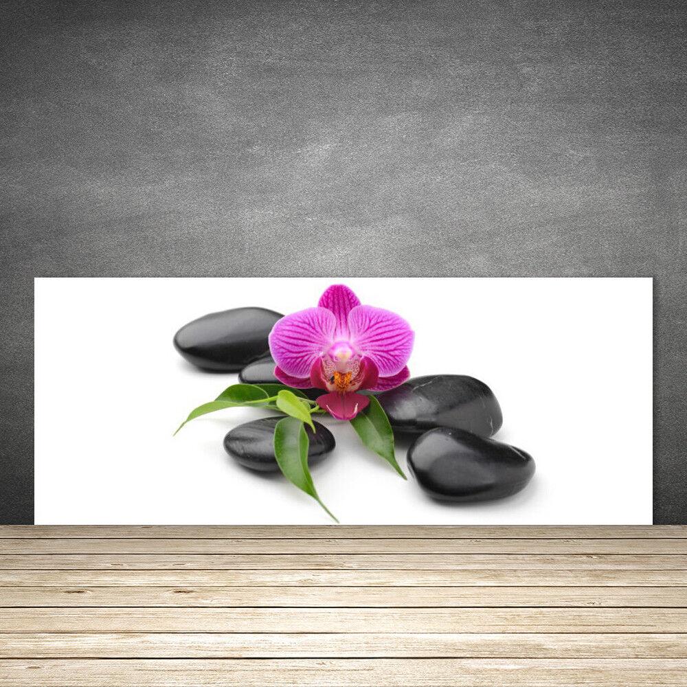 Crédence de cuisine en verre Panneau 125x50 Art Pierres Fleurs