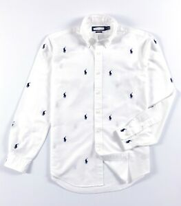 RALPH-LAUREN-Chemise-homme-Oxford-Blanc-All-over-Pony-Classic-Fit-RRP-125