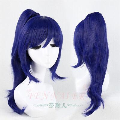 New Anime  Aqours Matsuura Kanan Dark Blue with Ponytail Cosplay Wig
