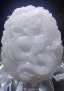 Natural Grade A Purple Jadeite Jade Dragon Pendant US Seller