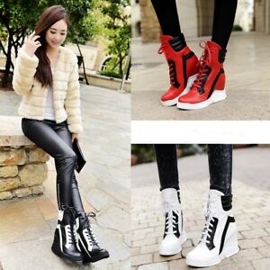 Womens-High-Top-Trainers-Platform-Wedge-Heel-Sneakers-Lace-Up-Ankle-Boots-Shoes