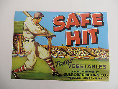 "SAFE HIT BASEBALL Crate Label Weslaco Texas GUARANTEED ORIGINAL 1950/'s 7/"" x 5/"""